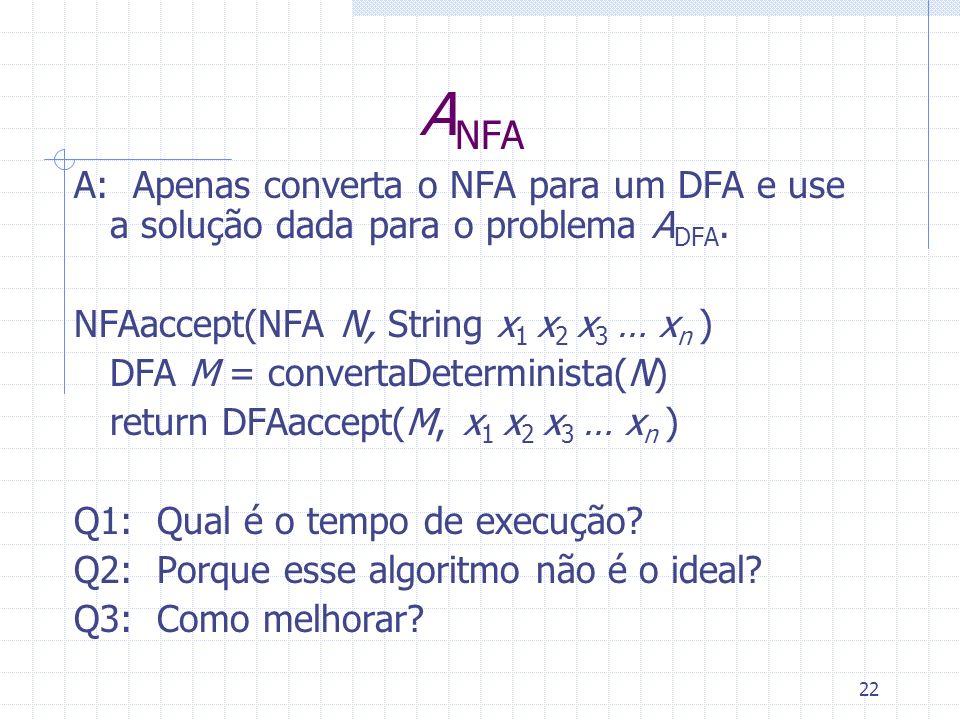 22 A NFA A: Apenas converta o NFA para um DFA e use a solução dada para o problema A DFA. NFAaccept(NFA N, String x 1 x 2 x 3 … x n ) DFA M = converta