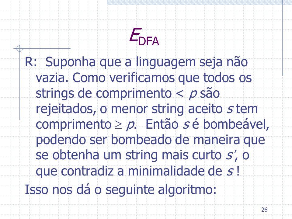 26 E DFA R: Suponha que a linguagem seja não vazia. Como verificamos que todos os strings de comprimento < p são rejeitados, o menor string aceito s t
