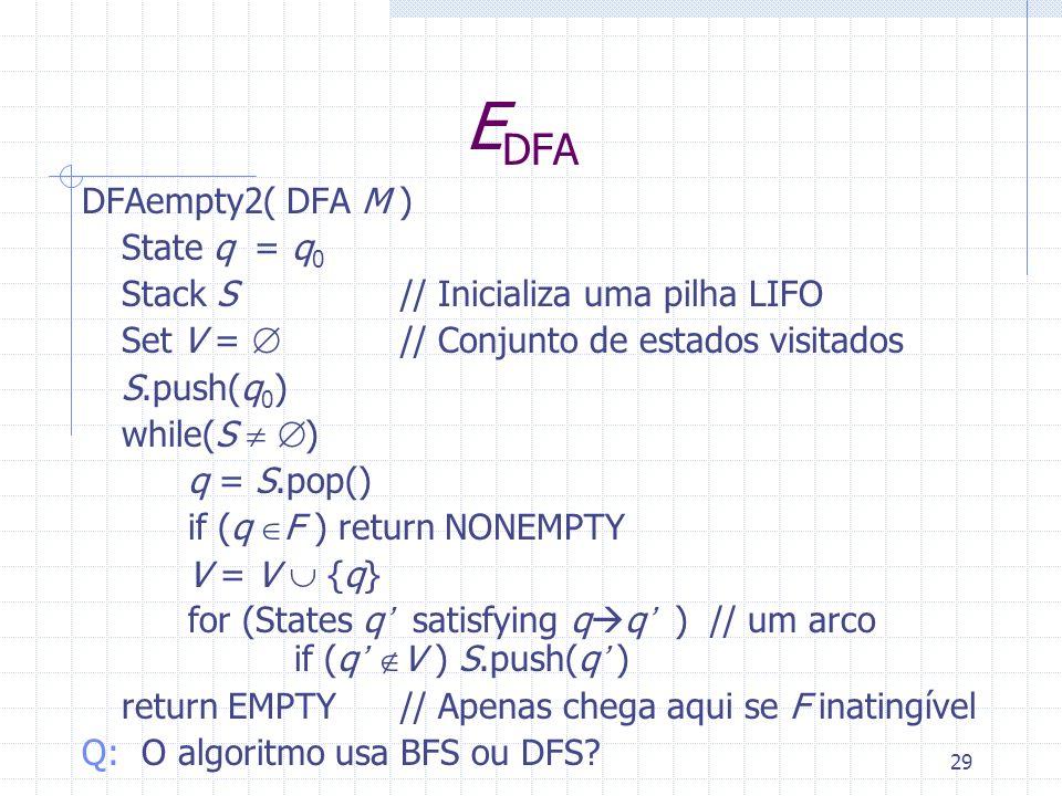 29 E DFA DFAempty2( DFA M ) State q = q 0 Stack S // Inicializa uma pilha LIFO Set V = // Conjunto de estados visitados S.push(q 0 ) while(S ) q = S.p