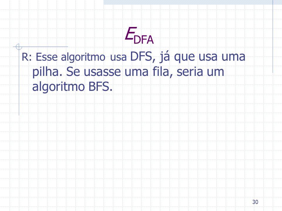 30 E DFA R: Esse algoritmo usa DFS, já que usa uma pilha. Se usasse uma fila, seria um algoritmo BFS.