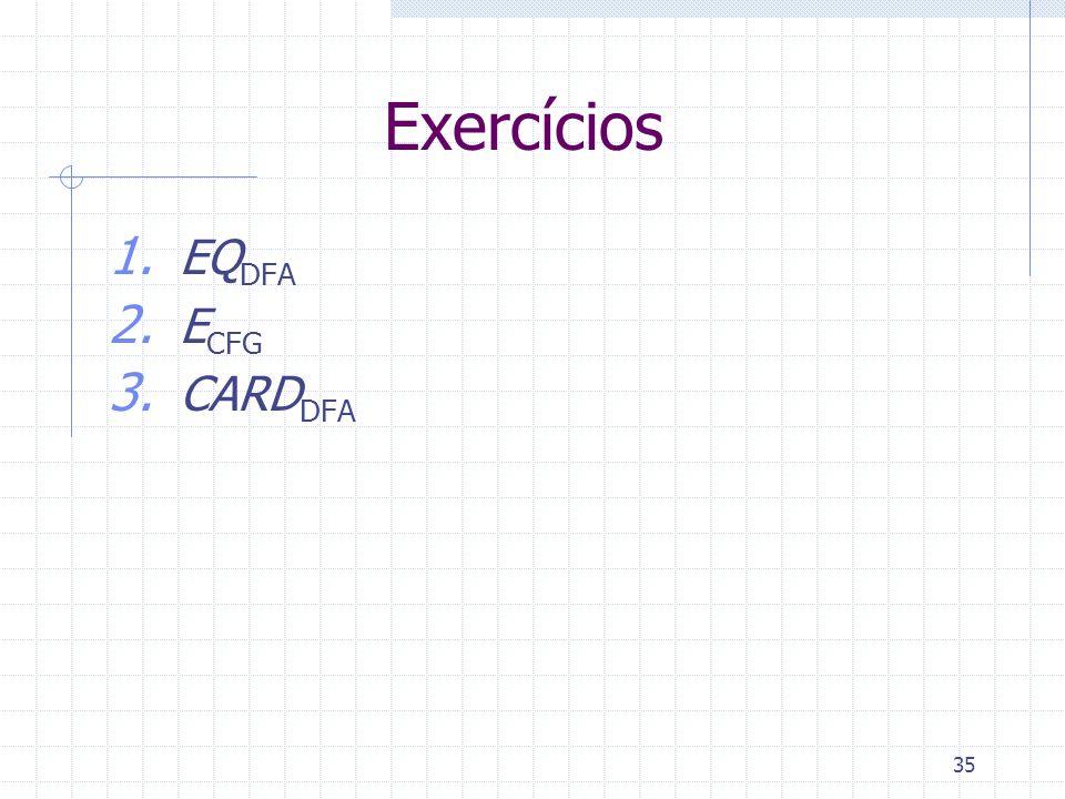 35 Exercícios 1. EQ DFA 2. E CFG 3. CARD DFA
