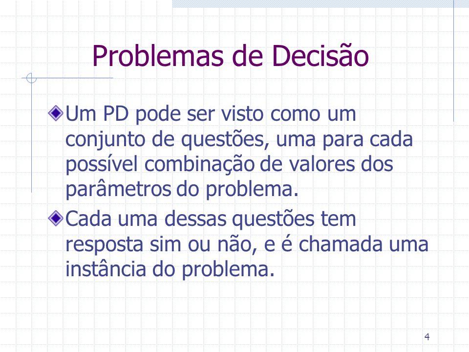 Problemas de Decisão Um PD pode ser visto como um conjunto de questões, uma para cada possível combinação de valores dos parâmetros do problema. Cada