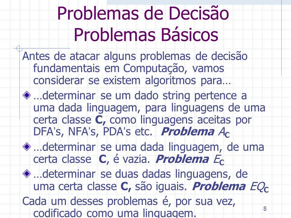 8 Problemas de Decisão Problemas Básicos Antes de atacar alguns problemas de decisão fundamentais em Computação, vamos considerar se existem algoritmo