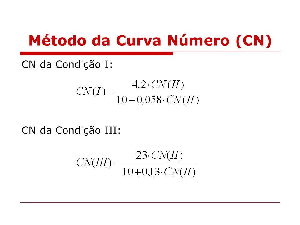 Método da Curva Número (CN) CN da Condição I: CN da Condição III: