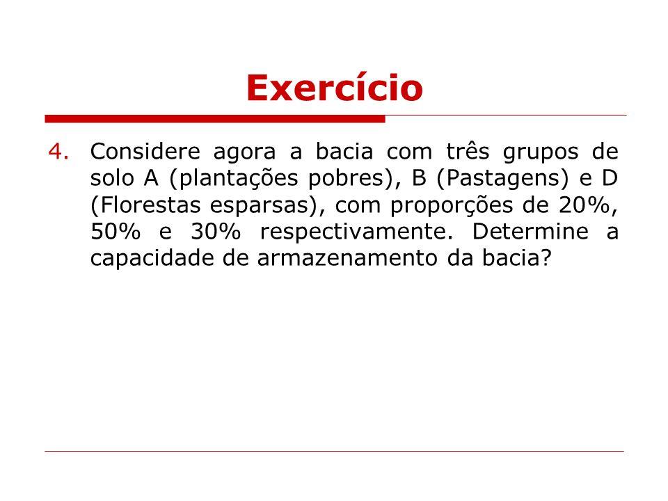 Exercício 4.Considere agora a bacia com três grupos de solo A (plantações pobres), B (Pastagens) e D (Florestas esparsas), com proporções de 20%, 50%