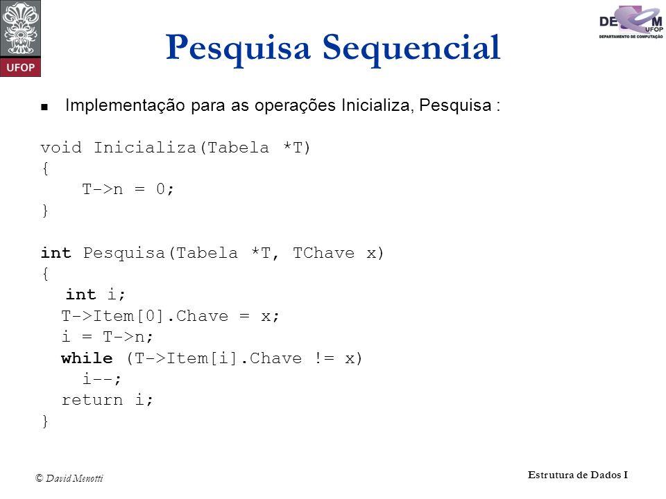 © David Menotti Estrutura de Dados I Pesquisa Sequencial Implementação para as operações Inicializa, Pesquisa : void Inicializa(Tabela *T) { T->n = 0; } int Pesquisa(Tabela *T, TChave x) { int i; T->Item[0].Chave = x; i = T->n; while (T->Item[i].Chave != x) i--; return i; }