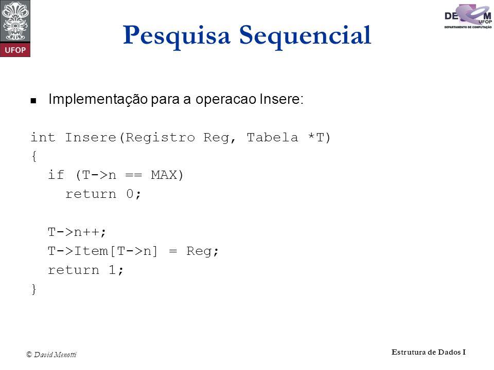 © David Menotti Estrutura de Dados I Pesquisa Sequencial Implementação para a operacao Insere: int Insere(Registro Reg, Tabela *T) { if (T->n == MAX) return 0; T->n++; T->Item[T->n] = Reg; return 1; }