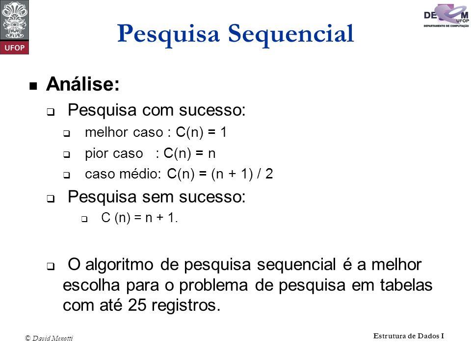 © David Menotti Estrutura de Dados I Pesquisa Sequencial Análise: Pesquisa com sucesso: melhor caso : C(n) = 1 pior caso : C(n) = n caso médio: C(n) = (n + 1) / 2 Pesquisa sem sucesso: C (n) = n + 1.