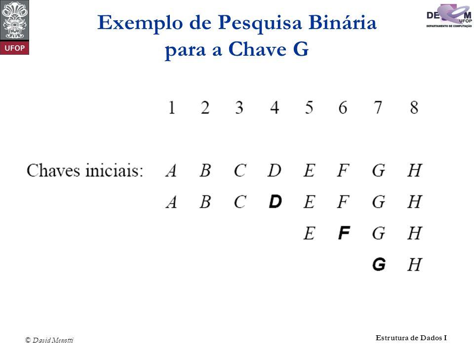 © David Menotti Estrutura de Dados I Exemplo de Pesquisa Binária para a Chave G