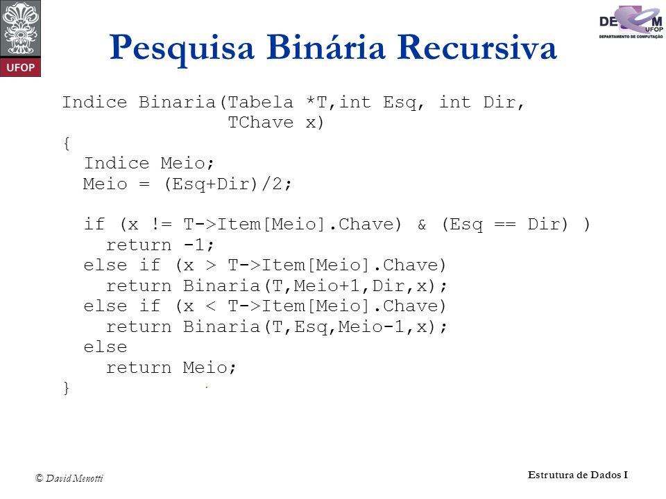 © David Menotti Estrutura de Dados I Pesquisa Binária Recursiva Indice Binaria(Tabela *T,int Esq, int Dir, TChave x) { Indice Meio; Meio = (Esq+Dir)/2; if (x != T->Item[Meio].Chave) & (Esq == Dir) ) return -1; else if (x > T->Item[Meio].Chave) return Binaria(T,Meio+1,Dir,x); else if (x Item[Meio].Chave) return Binaria(T,Esq,Meio-1,x); else return Meio; }