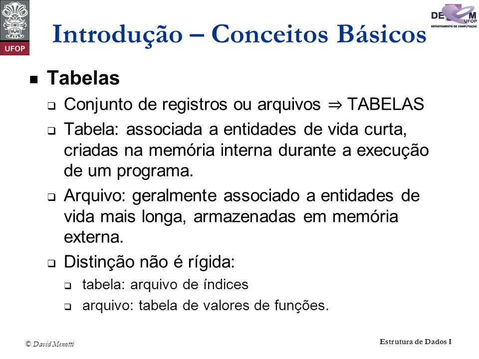 © David Menotti Estrutura de Dados I Introdução – Conceitos Básicos Tabelas Conjunto de registros ou arquivos TABELAS Tabela: associada a entidades de vida curta, criadas na memória interna durante a execução de um programa.
