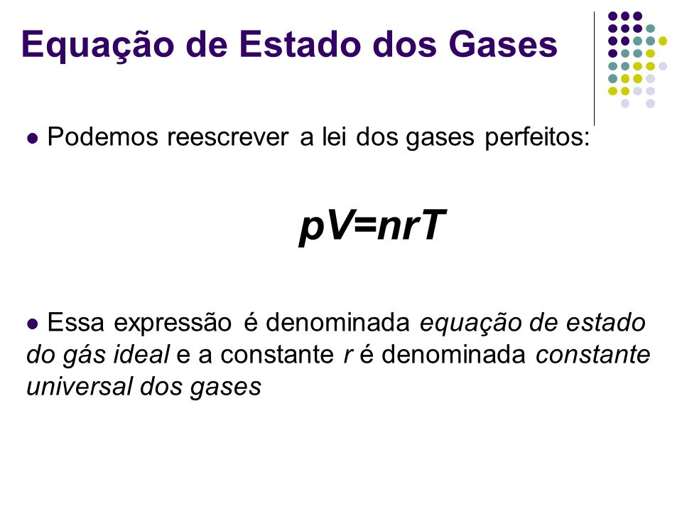 Equação de Estado dos Gases Podemos reescrever a lei dos gases perfeitos: pV=nrT Essa expressão é denominada equação de estado do gás ideal e a consta