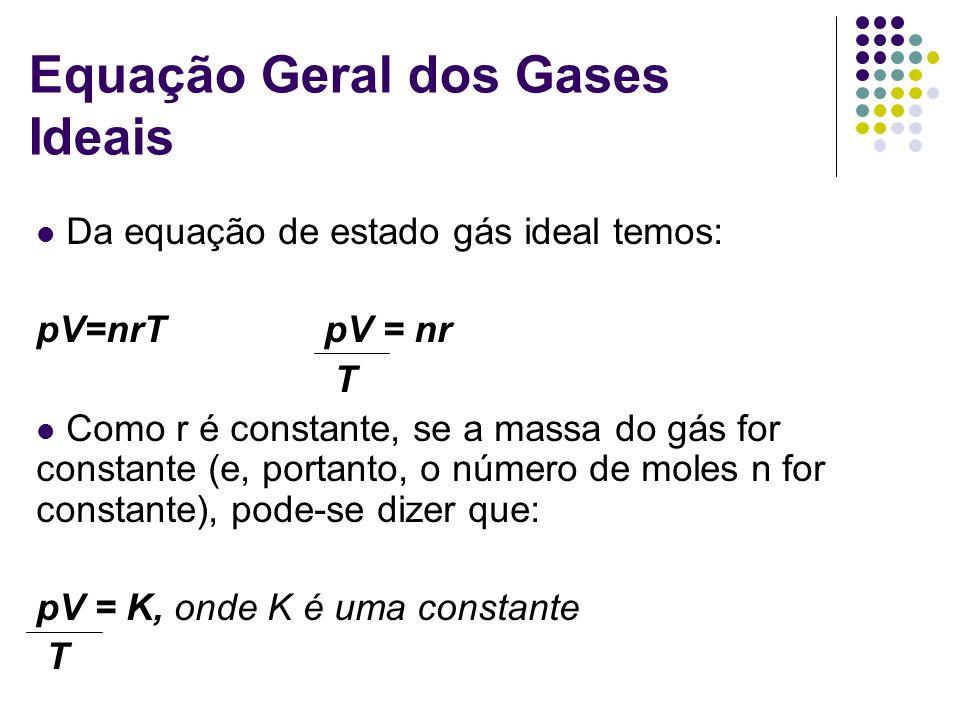 Equação Geral dos Gases Ideais Da equação de estado gás ideal temos: pV=nrTpV = nr T Como r é constante, se a massa do gás for constante (e, portanto,