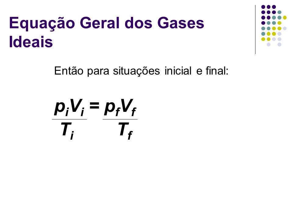 Equação Geral dos Gases Ideais Então para situações inicial e final: p i V i = p f V f T i T f
