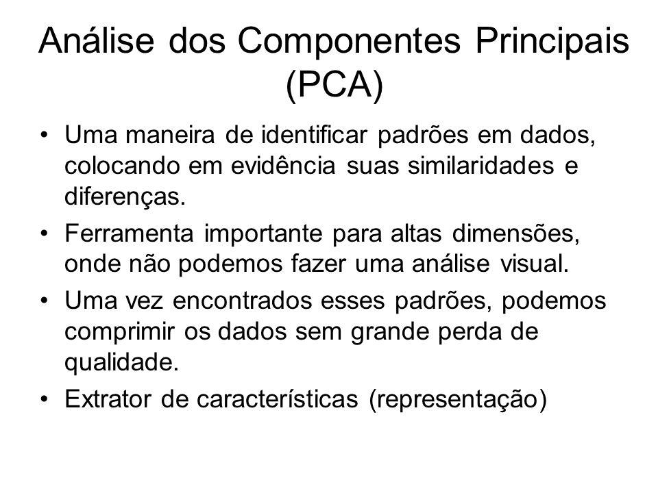Análise dos Componentes Principais (PCA) Uma maneira de identificar padrões em dados, colocando em evidência suas similaridades e diferenças. Ferramen