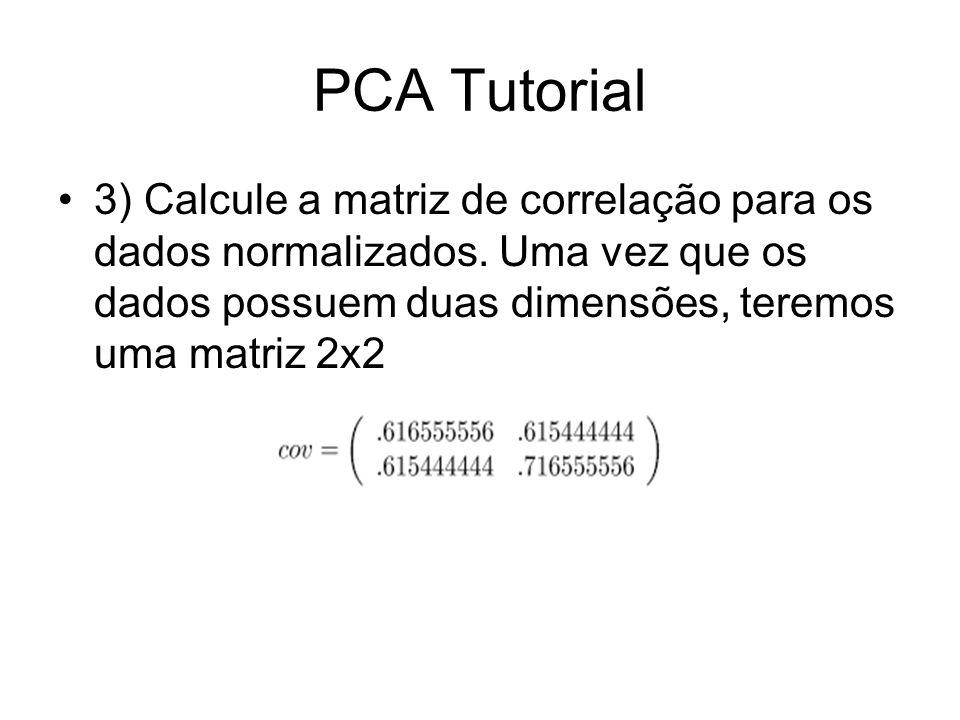 3) Calcule a matriz de correlação para os dados normalizados. Uma vez que os dados possuem duas dimensões, teremos uma matriz 2x2