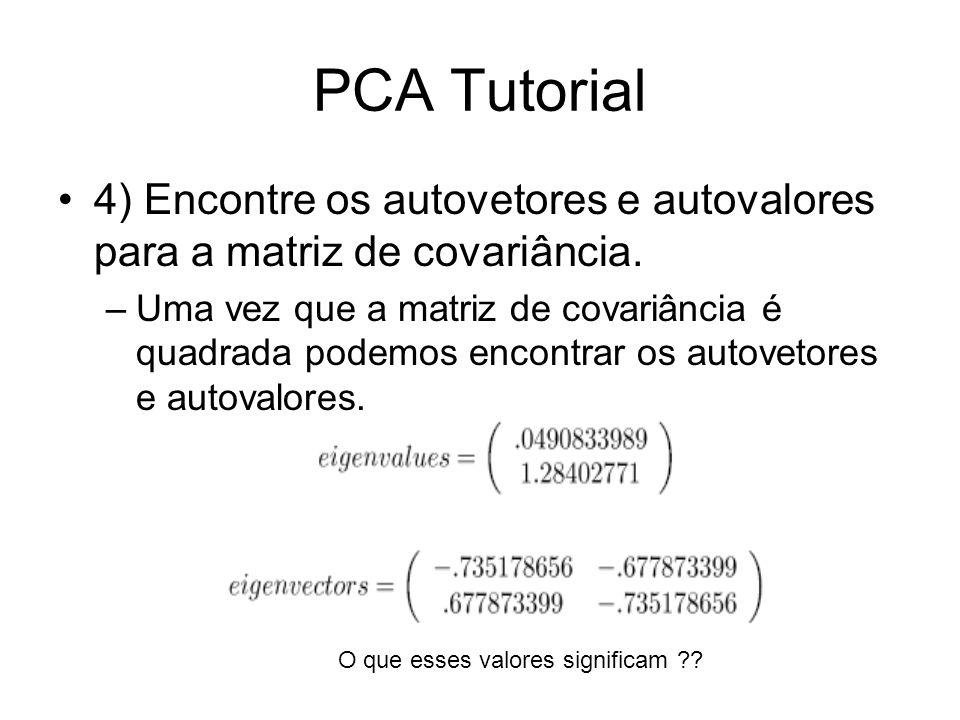 PCA Tutorial 4) Encontre os autovetores e autovalores para a matriz de covariância. –Uma vez que a matriz de covariância é quadrada podemos encontrar