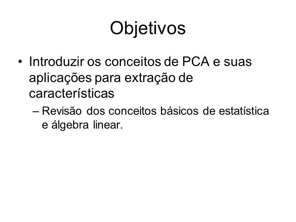 Objetivos Introduzir os conceitos de PCA e suas aplicações para extração de características –Revisão dos conceitos básicos de estatística e álgebra li