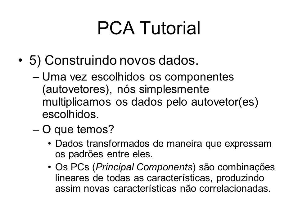 PCA Tutorial 5) Construindo novos dados. –Uma vez escolhidos os componentes (autovetores), nós simplesmente multiplicamos os dados pelo autovetor(es)