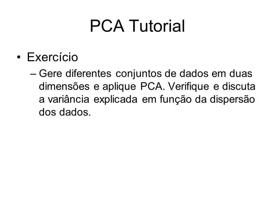 PCA Tutorial Exercício –Gere diferentes conjuntos de dados em duas dimensões e aplique PCA. Verifique e discuta a variância explicada em função da dis