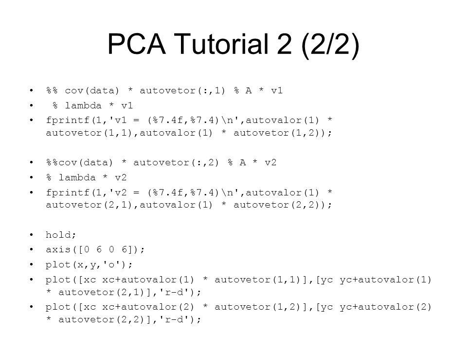 PCA Tutorial 2 (2/2) % cov(data) * autovetor(:,1) % A * v1 % lambda * v1 fprintf(1,'v1 = (%7.4f,%7.4)\n',autovalor(1) * autovetor(1,1),autovalor(1) *