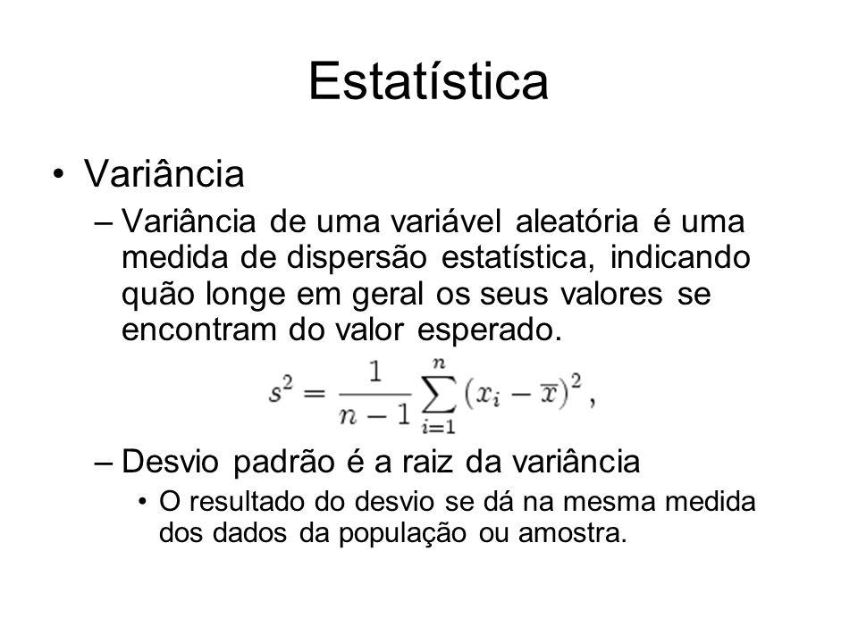 Estatística Variância –Variância de uma variável aleatória é uma medida de dispersão estatística, indicando quão longe em geral os seus valores se enc
