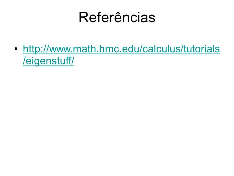 Referências http://www.math.hmc.edu/calculus/tutorials /eigenstuff/http://www.math.hmc.edu/calculus/tutorials /eigenstuff/
