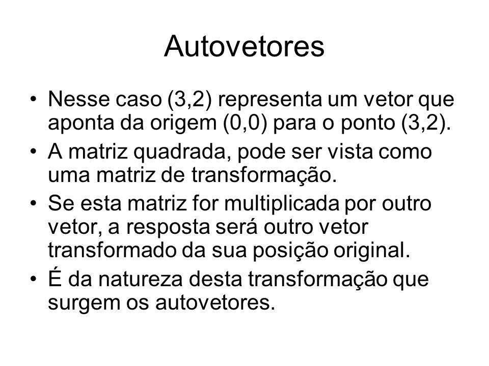 Autovetores Nesse caso (3,2) representa um vetor que aponta da origem (0,0) para o ponto (3,2). A matriz quadrada, pode ser vista como uma matriz de t
