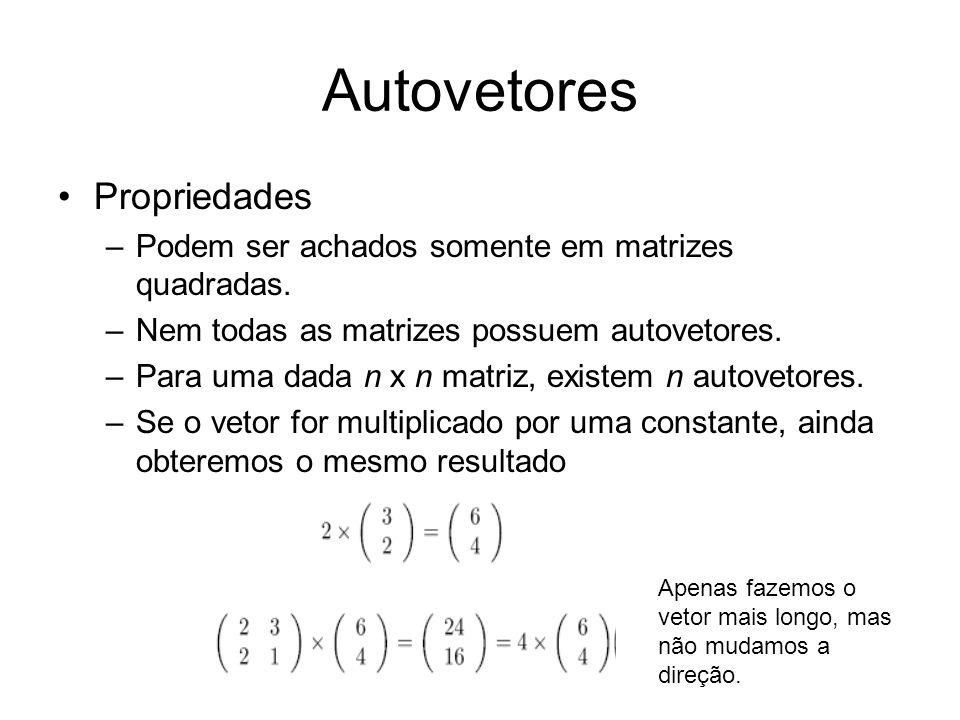 Autovetores Propriedades –Podem ser achados somente em matrizes quadradas. –Nem todas as matrizes possuem autovetores. –Para uma dada n x n matriz, ex