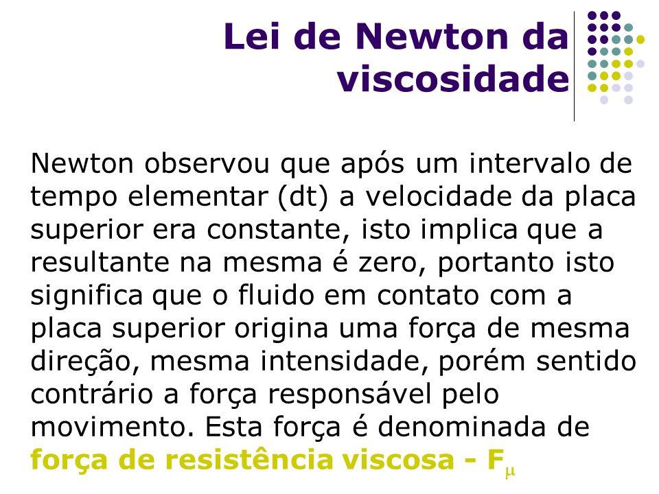 Lei de Newton da viscosidade Newton observou que após um intervalo de tempo elementar (dt) a velocidade da placa superior era constante, isto implica