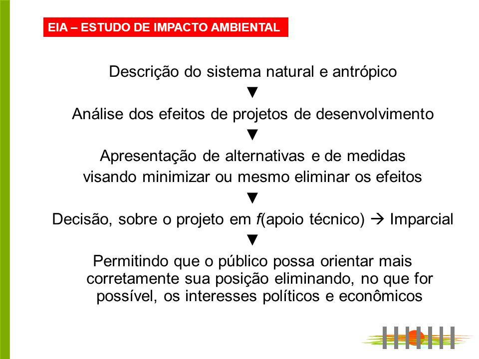 EIA – ESTUDO DE IMPACTO AMBIENTAL Descrição do sistema natural e antrópico Análise dos efeitos de projetos de desenvolvimento Apresentação de alternat