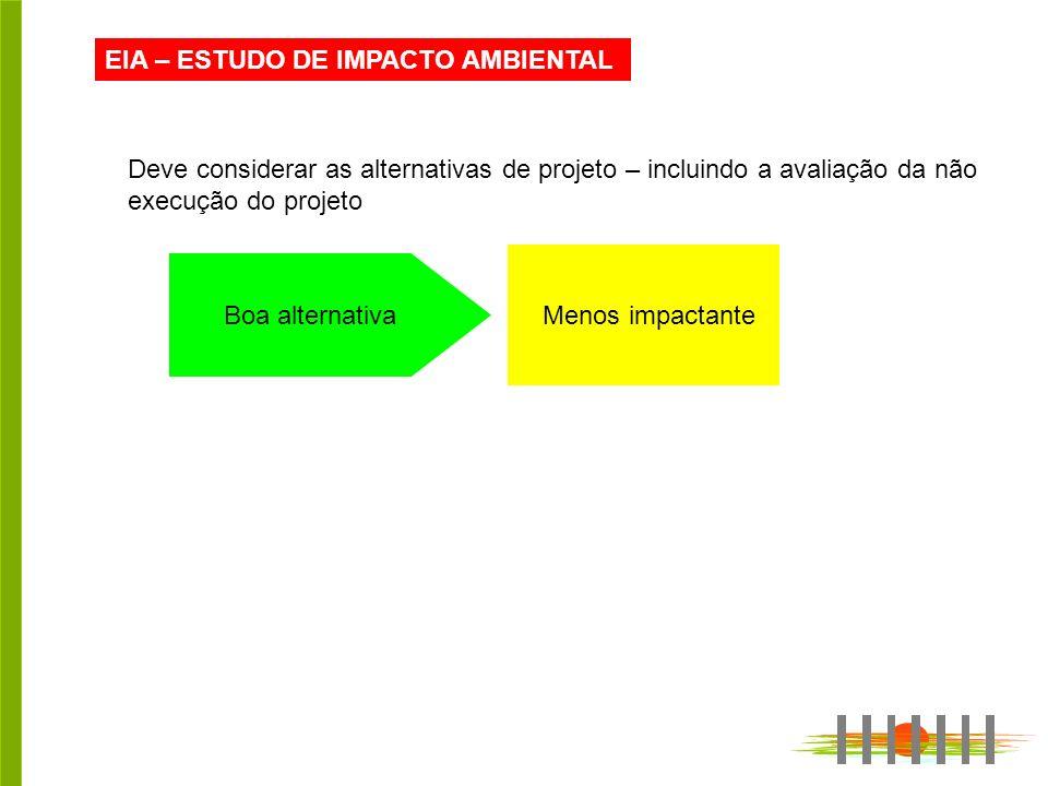 EIA – ESTUDO DE IMPACTO AMBIENTAL Deve considerar as alternativas de projeto – incluindo a avaliação da não execução do projeto Boa alternativa Menos