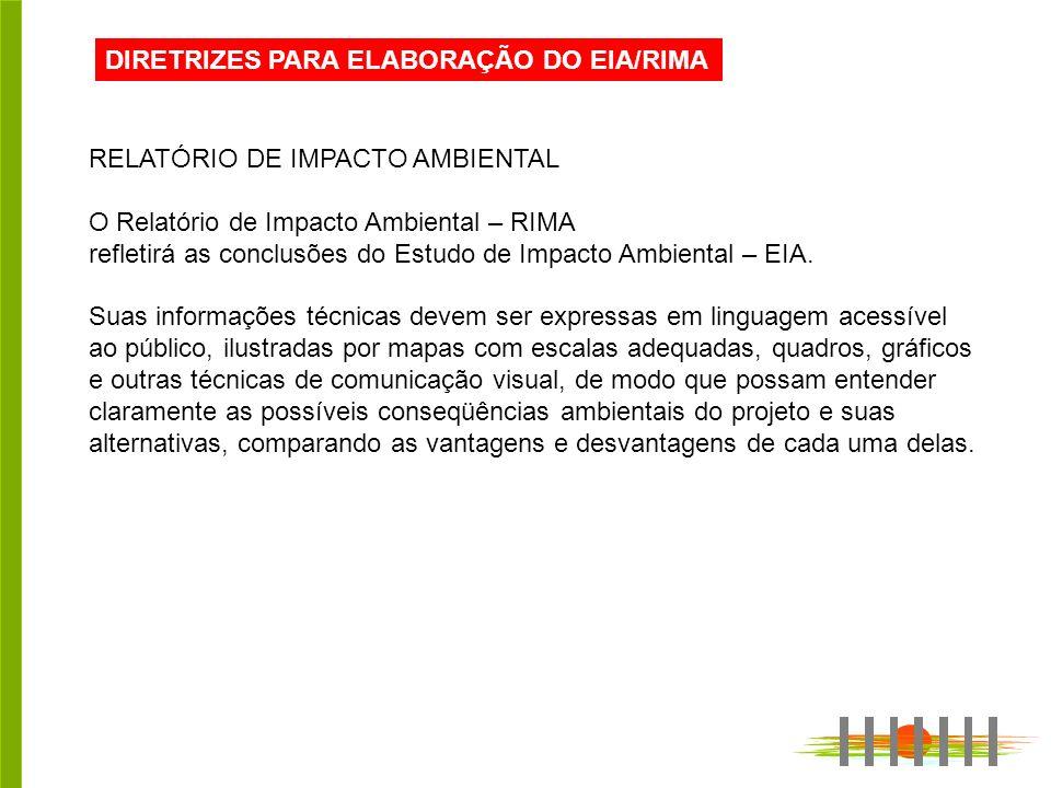 DIRETRIZES PARA ELABORAÇÃO DO EIA/RIMA RELATÓRIO DE IMPACTO AMBIENTAL O Relatório de Impacto Ambiental – RIMA refletirá as conclusões do Estudo de Imp