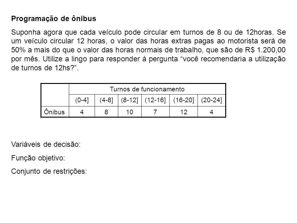 Programação de ônibus Suponha agora que cada veículo pode circular em turnos de 8 ou de 12horas. Se um veículo circular 12 horas, o valor das horas ex