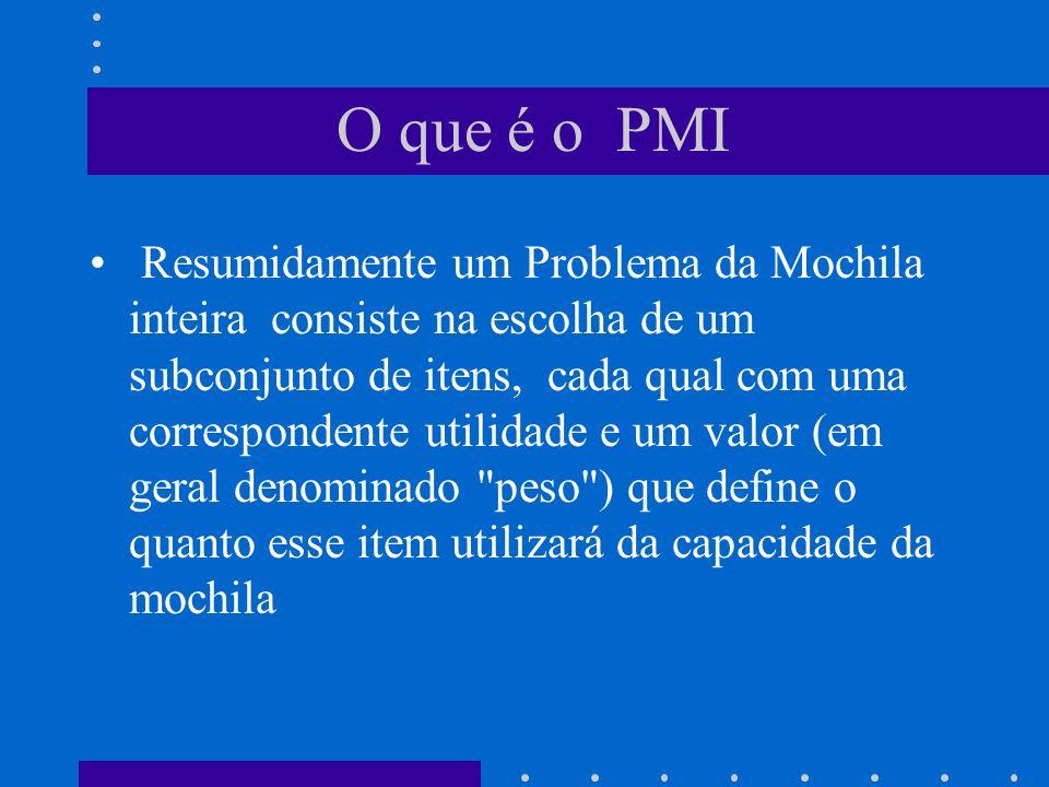 O que é o PMI Resumidamente um Problema da Mochila inteira consiste na escolha de um subconjunto de itens, cada qual com uma correspondente utilidade