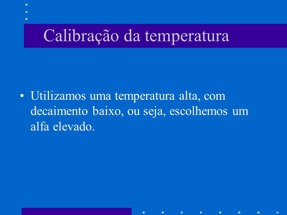Calibração da temperatura Utilizamos uma temperatura alta, com decaimento baixo, ou seja, escolhemos um alfa elevado.