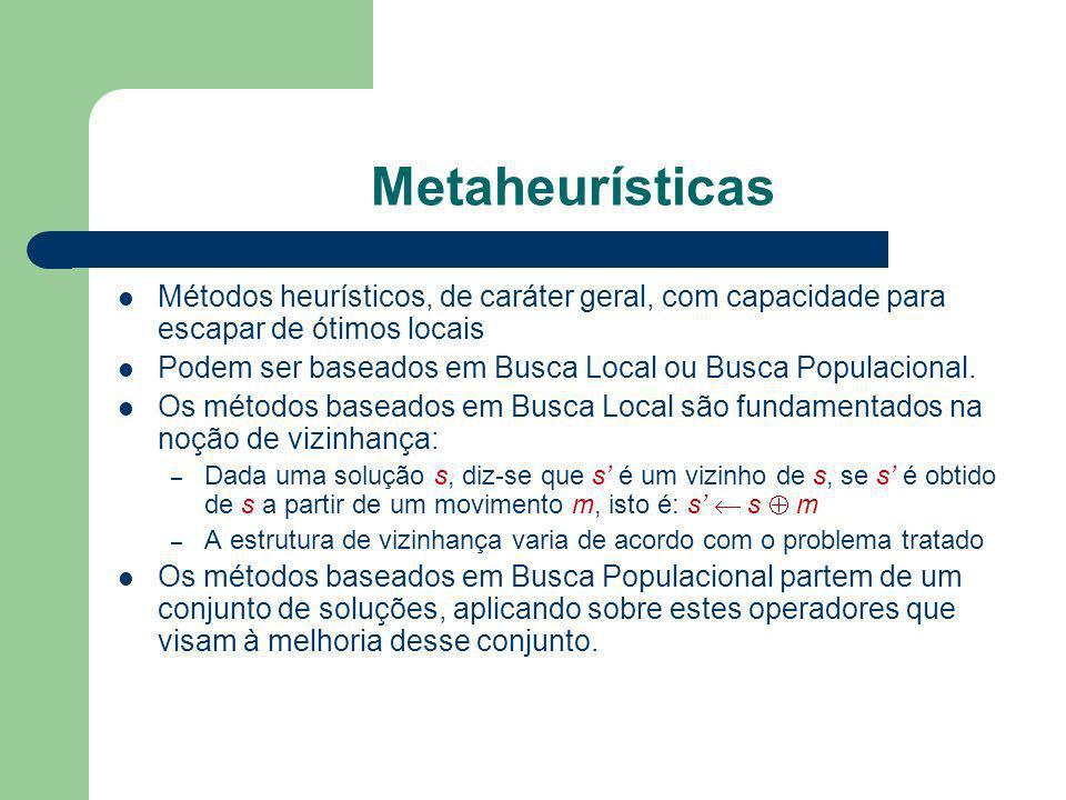 Metaheurísticas Métodos heurísticos, de caráter geral, com capacidade para escapar de ótimos locais Podem ser baseados em Busca Local ou Busca Populac
