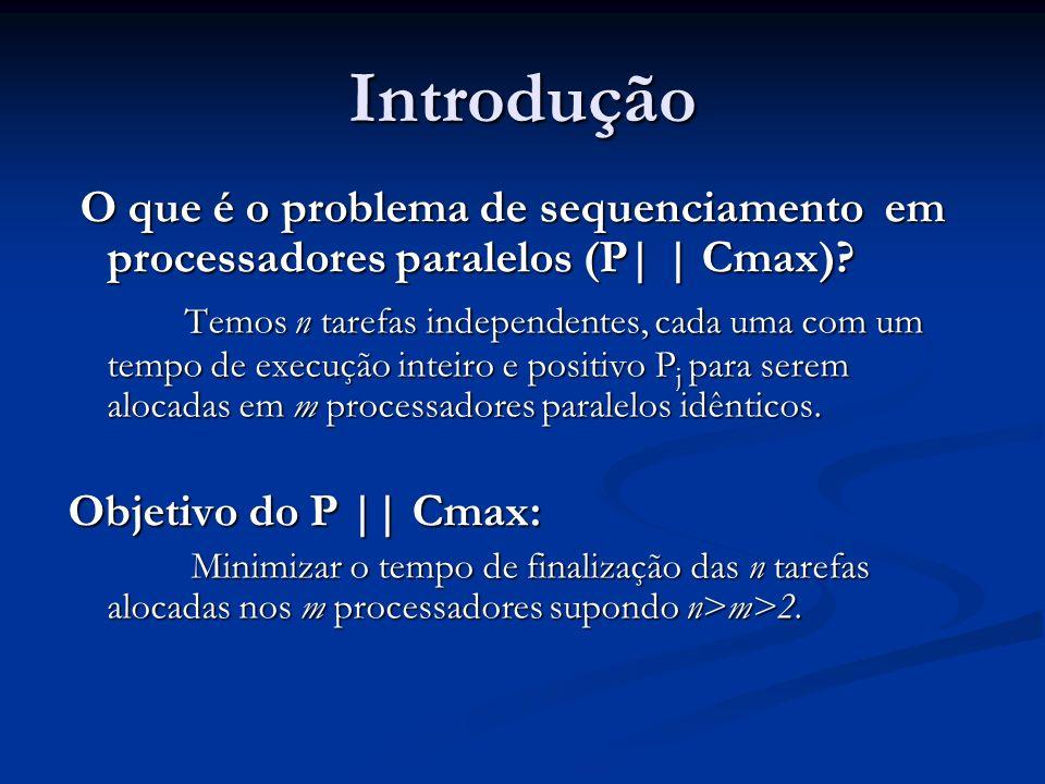Introdução O que é o problema de sequenciamento em processadores paralelos (P| | Cmax)? O que é o problema de sequenciamento em processadores paralelo