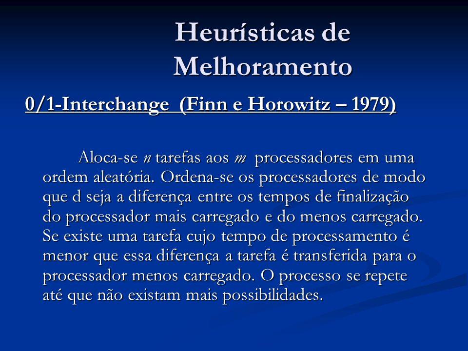Heurísticas de Melhoramento 0/1-Interchange (Finn e Horowitz – 1979) Aloca-se n tarefas aos m processadores em uma ordem aleatória. Ordena-se os proce