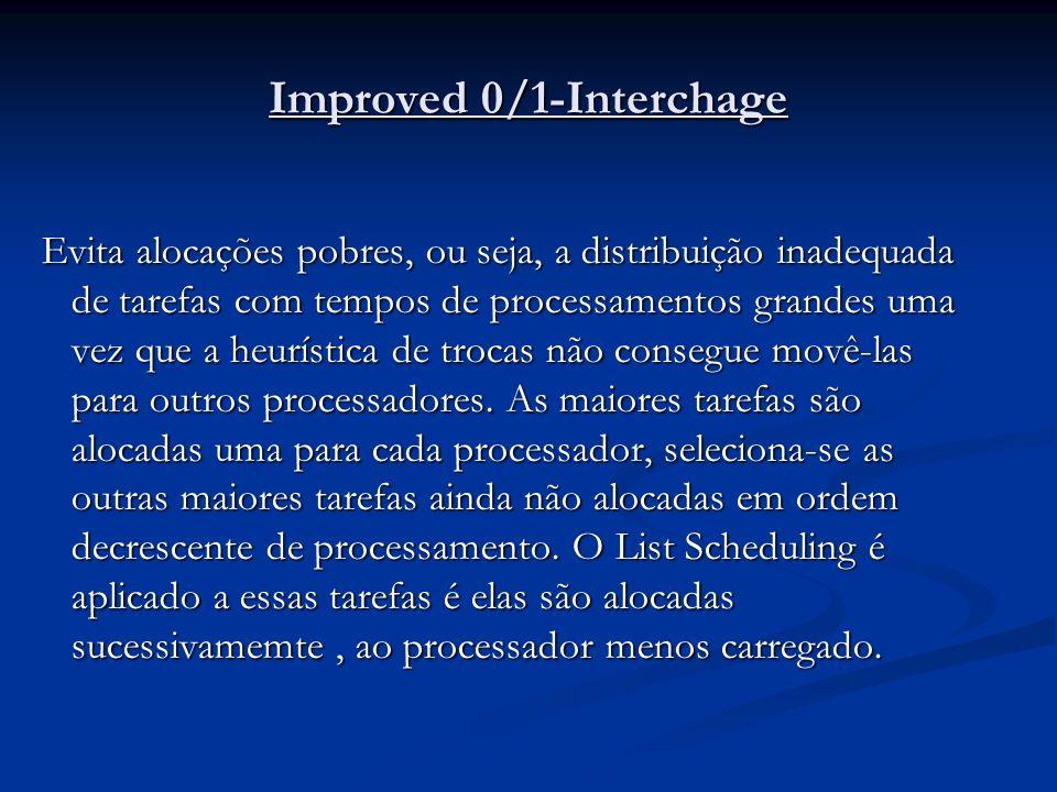 Improved 0/1-Interchage Evita alocações pobres, ou seja, a distribuição inadequada de tarefas com tempos de processamentos grandes uma vez que a heurí