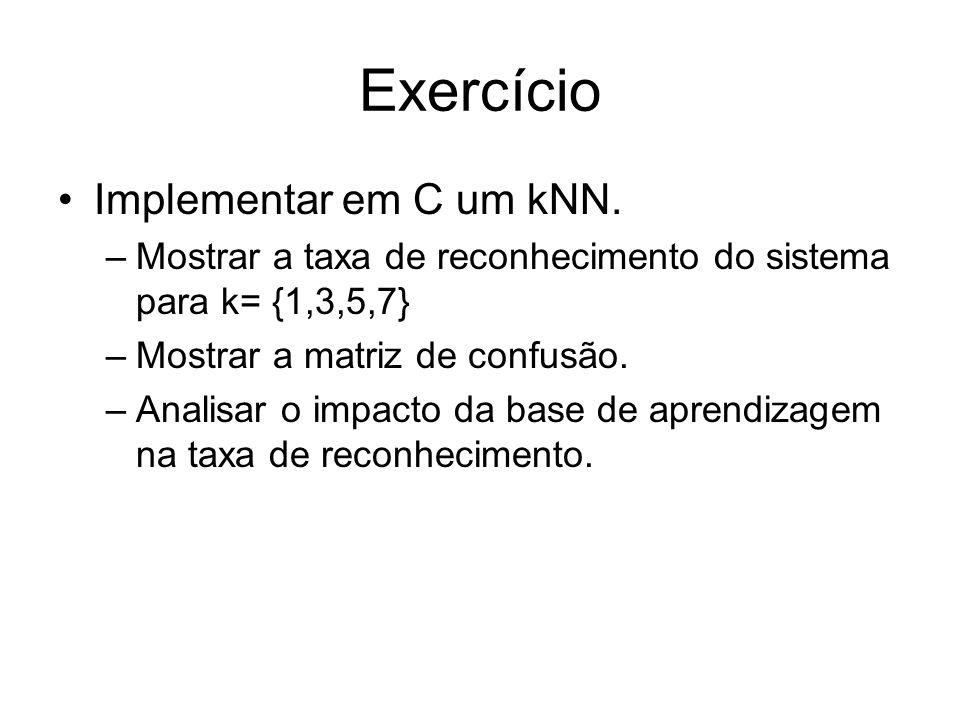 Exercício Implementar em C um kNN. –Mostrar a taxa de reconhecimento do sistema para k= {1,3,5,7} –Mostrar a matriz de confusão. –Analisar o impacto d