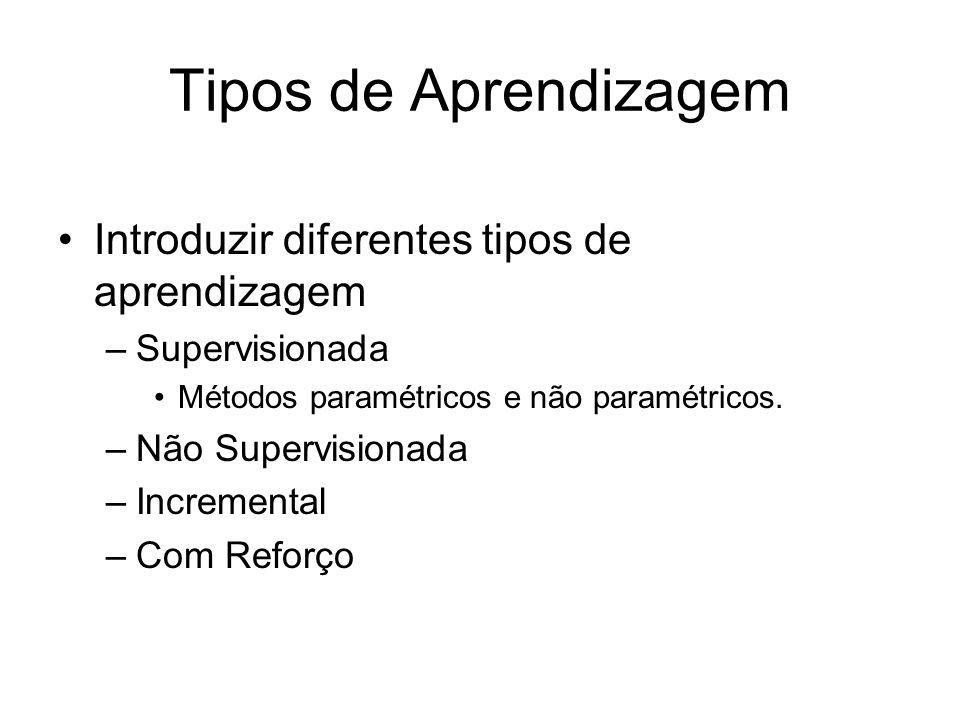 Tipos de Aprendizagem Introduzir diferentes tipos de aprendizagem –Supervisionada Métodos paramétricos e não paramétricos. –Não Supervisionada –Increm