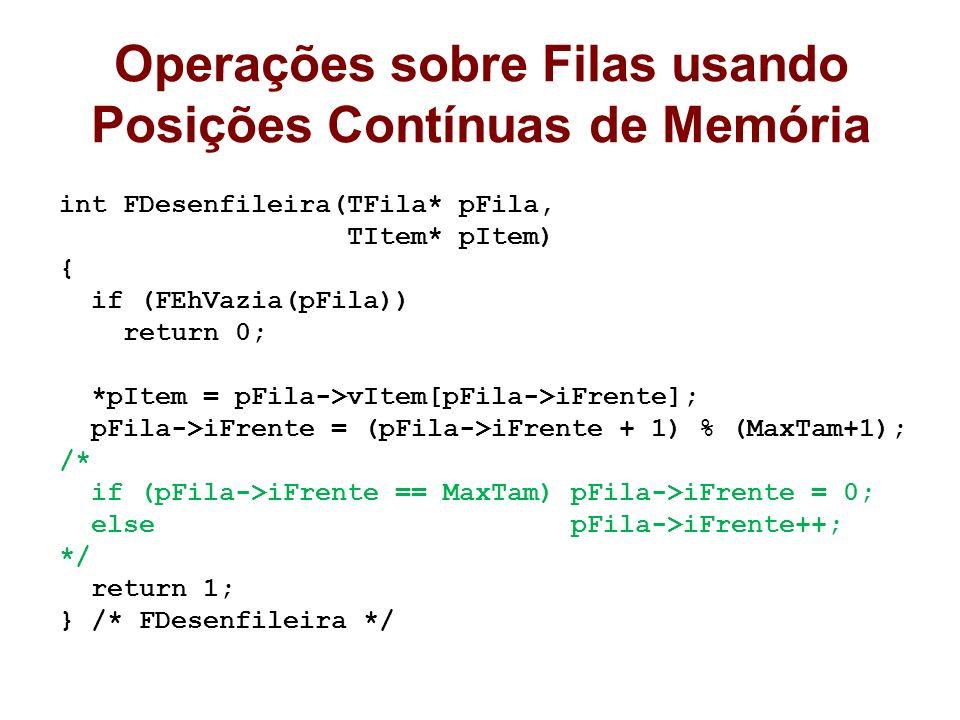 Operações sobre Filas usando Posições Contínuas de Memória int FDesenfileira(TFila* pFila, TItem* pItem) { if (FEhVazia(pFila)) return 0; *pItem = pFi