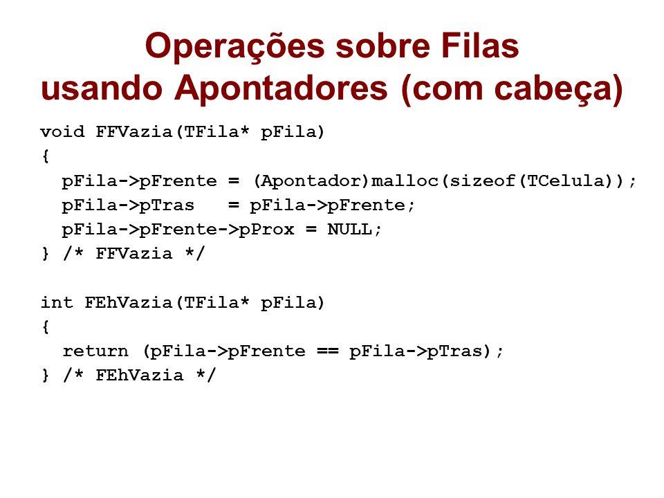 Operações sobre Filas usando Apontadores (com cabeça) void FFVazia(TFila* pFila) { pFila->pFrente = (Apontador)malloc(sizeof(TCelula)); pFila->pTras =