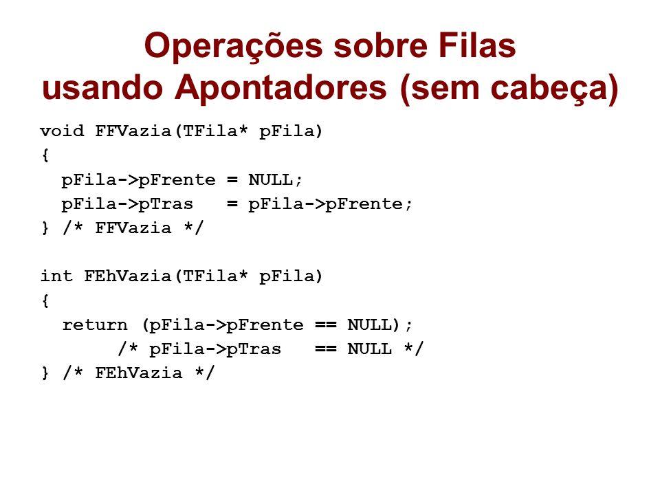 Operações sobre Filas usando Apontadores (sem cabeça) void FFVazia(TFila* pFila) { pFila->pFrente = NULL; pFila->pTras = pFila->pFrente; } /* FFVazia */ int FEhVazia(TFila* pFila) { return (pFila->pFrente == NULL); /* pFila->pTras == NULL */ } /* FEhVazia */
