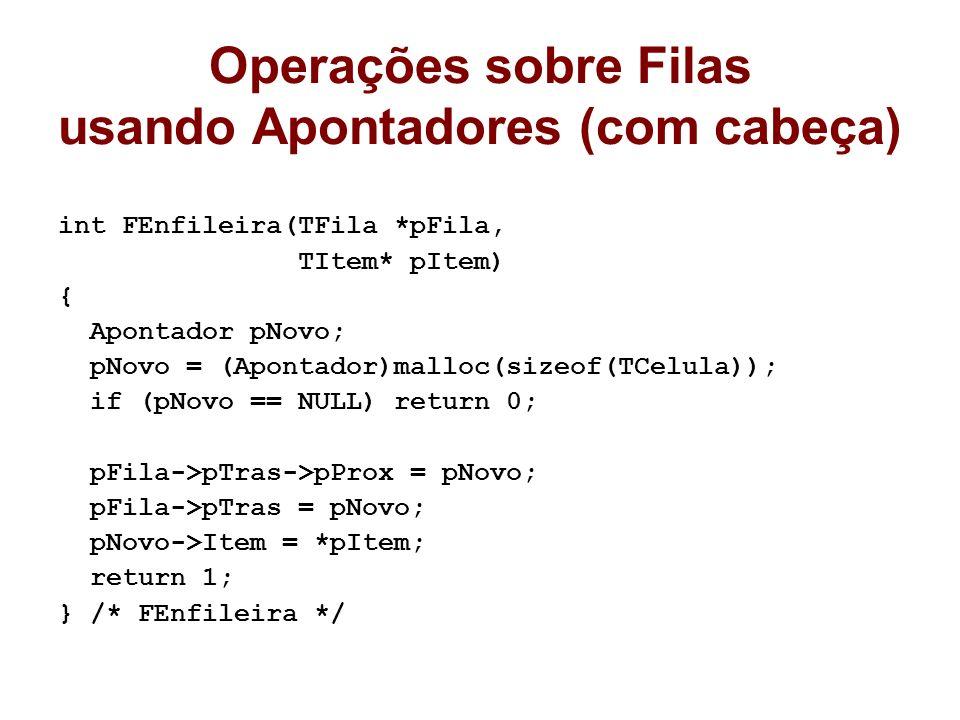 Operações sobre Filas usando Apontadores (com cabeça) int FEnfileira(TFila *pFila, TItem* pItem) { Apontador pNovo; pNovo = (Apontador)malloc(sizeof(TCelula)); if (pNovo == NULL) return 0; pFila->pTras->pProx = pNovo; pFila->pTras = pNovo; pNovo->Item = *pItem; return 1; } /* FEnfileira */