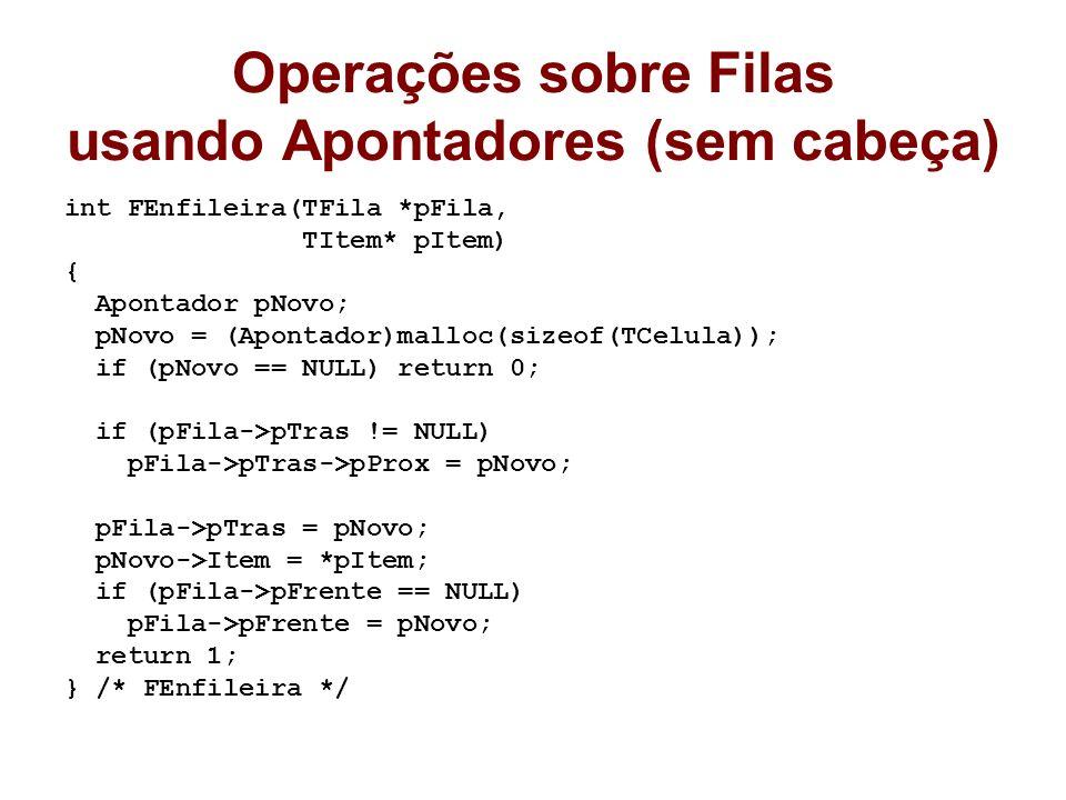 Operações sobre Filas usando Apontadores (sem cabeça) int FEnfileira(TFila *pFila, TItem* pItem) { Apontador pNovo; pNovo = (Apontador)malloc(sizeof(TCelula)); if (pNovo == NULL) return 0; if (pFila->pTras != NULL) pFila->pTras->pProx = pNovo; pFila->pTras = pNovo; pNovo->Item = *pItem; if (pFila->pFrente == NULL) pFila->pFrente = pNovo; return 1; } /* FEnfileira */