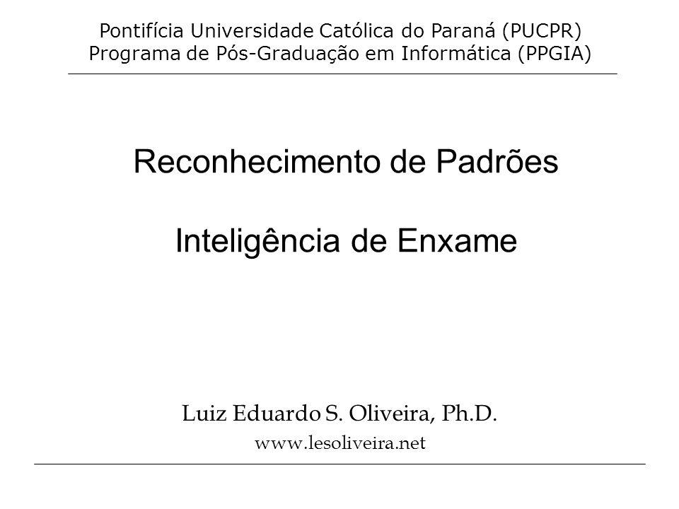 Reconhecimento de Padrões Inteligência de Enxame Luiz Eduardo S. Oliveira, Ph.D. www.lesoliveira.net Pontifícia Universidade Católica do Paraná (PUCPR