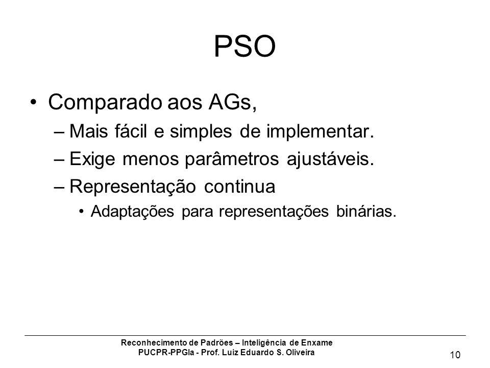 Reconhecimento de Padrões – Inteligência de Enxame PUCPR-PPGIa - Prof. Luiz Eduardo S. Oliveira 10 PSO Comparado aos AGs, –Mais fácil e simples de imp