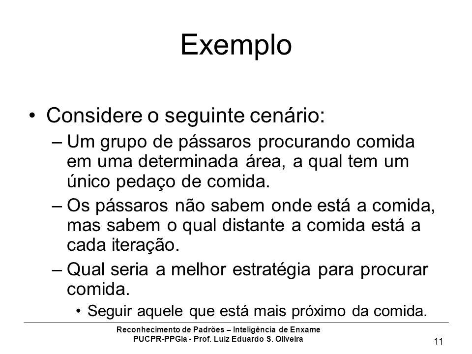 Reconhecimento de Padrões – Inteligência de Enxame PUCPR-PPGIa - Prof. Luiz Eduardo S. Oliveira 11 Exemplo Considere o seguinte cenário: –Um grupo de